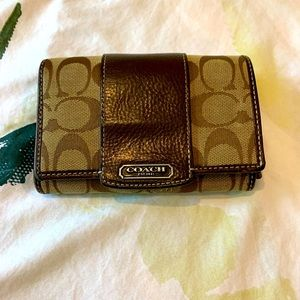 Coach small brown leather & canvas leather wallet